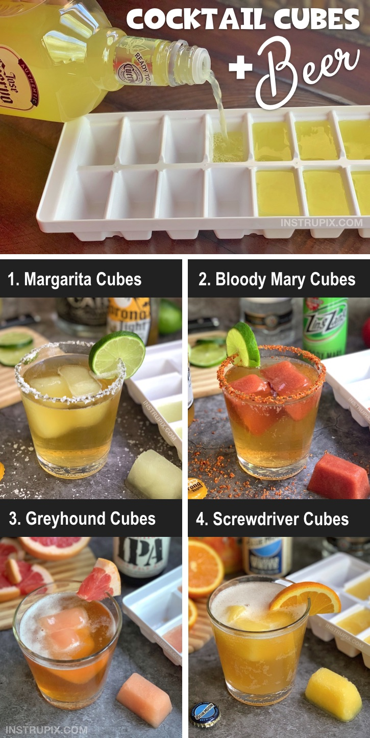 Looking for easy alcoholic drink recipes for this summer? Or any time! Freeze fruity cocktails and juices in an ice cube tray and use them to chill and flavor beer! It's a fun and easy twist to drinking that everyone will love. Great for parties! Vodka and tequila are great mixers. #instrupix #beer #cocktails #cocktailcubes #drinkcubes