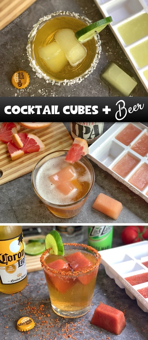 Cocktail Cubes and Beer Recipes -- Super fun and easy drink ideas for this summer! These frozen cocktail cubes are great for lounging by the pool and flavoring your beer! #instrupix