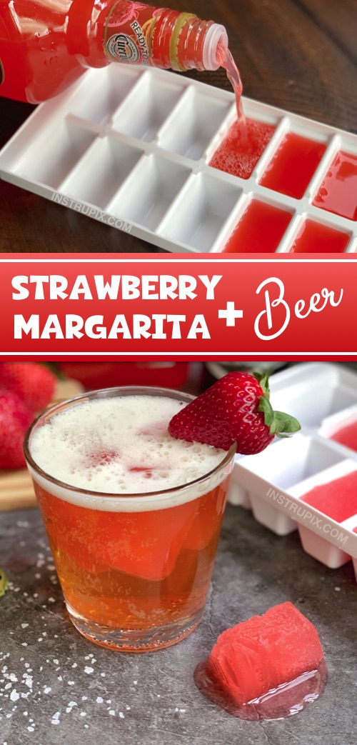 Strawberry Margarita Cubes and Beer (perfect with a blonde beer!) Plus 4 other cocktail cube drink ideas. Great for parties! These cubes flavor and chill your beer at the same time! #instrupix #drinkrecipes #strawberrymargarita