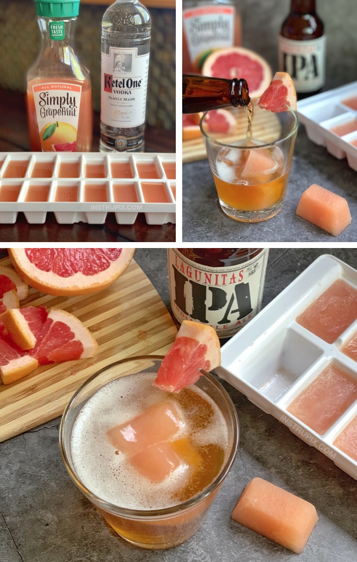 Greyhound Cubes and IPA - A super fun and easy alcoholic drink recipe for this summer! Chills and flavors your beer. #instrupix #drinkrecipes