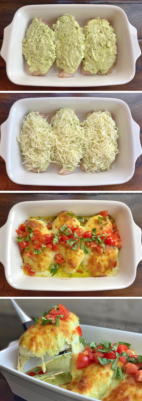 Oven Baked Cheesy Pesto Chicken Recipe | An easy low carb dinner recipe made with chicken, cream cheese, pesto and mozzarella! Simple ingredients that the entire family will love. A Quick Keto and low carb meal-- just serve it with cauliflower rice! #instrupix #chicken #keto #lowcarb