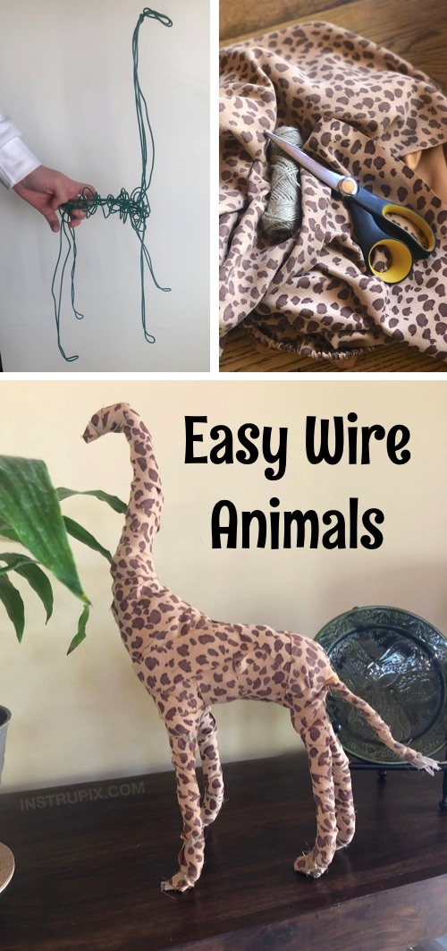 Easy Fabric Wrapped Wire Animals - Looking for easy DIY projects for the home? These simple but cute wire animals are perfect for kids, teens and adults to try! This no sew craft can be completely customized to your own taste. Great for beginners or experienced craftsters! It's cheap, fun and super easy. #instrupix #crafts #projects