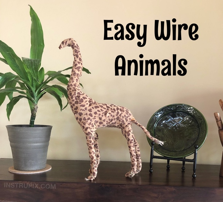 Fabric Wrapped Wire Animals - easy craft project idea for kids, teens and adults!