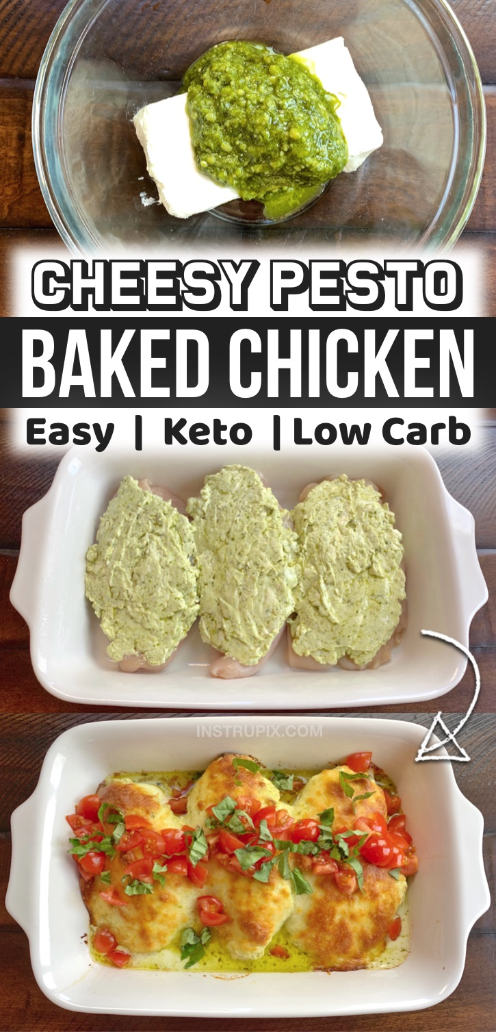 I'm always looking for quick and easy keto dinner recipes, and this cheesy pesto baked chicken is so darn simple to make in just one pan! It's so yummy, even my kids and non keto husband love it. I serve it with cauliflower rice to keep it low carb and healthy, but my family enjoys it with regular rice or garlic bread. Super family friendly! A great last minute dinner idea for busy weekday meals. This is my favorite way to cook chicken breasts in the oven. Totally effortless and simple to make!
