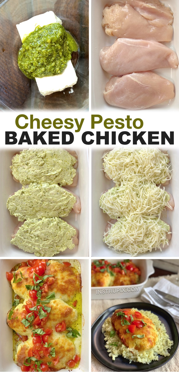 Looking for easy baked chicken recipes for dinner? You won't believe how good this cheesy pesto chicken is! It's made with just a few ingredients including cream cheese, basil pesto, shredded mozzarella and then topped with fresh tomatoes and basil. It's healthy, low carb and delicious! My entire family loves it. We serve it with rice (or cauliflower rice) and a salad. Even my kids love it, plus it's quick to make in just one pan with very little clean up. So yummy!