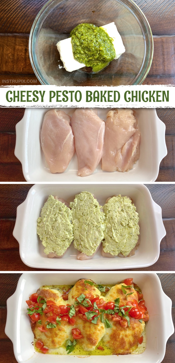 If you're looking for easy keto chicken dinner recipes, this baked boneless chicken breast recipe is the bomb! Cheesy Pesto Baked Chicken. It's made with just a handful of simple ingredients and made in ONE DISH with cream cheese, pesto & mozzarella-- then topped with fresh tomatoes and basil. Yum! It's super quick and easy to make for the whole family. It's definitely a wonderful and healthy, low carb option for anyone following a ketogenic diet. The BEST chicken recipes ever for dinner. #keto #lowcarb #chicken #instrupix