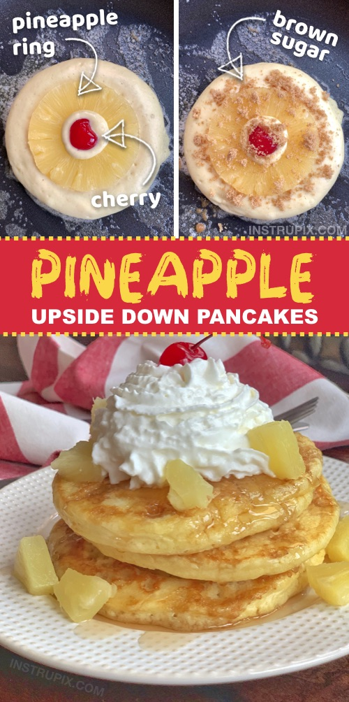 Looking for quick and easy breakfast ideas the entire family will love? Kids and adults will devour these Pineapple Upside Down Pancakes! They are super fun to make and made with simple and cheap ingredients. Perfect for sleepovers and special occasions (or any Sunday morning!) #breakfast #pancakes #instrupix #pineapple