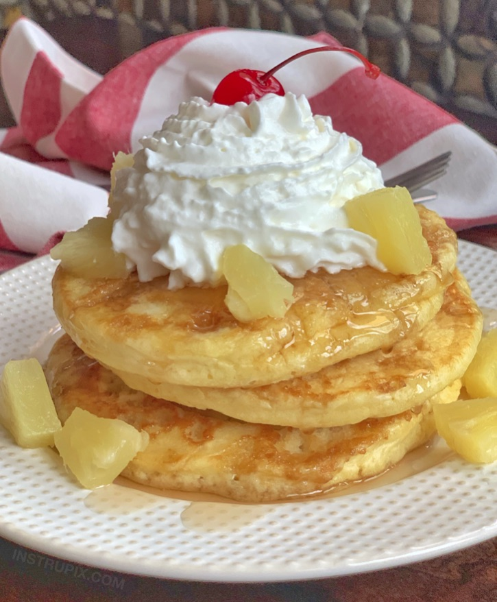 Quick and easy breakfast idea kids and adults will love! Pineapple Upside Down Pancakes