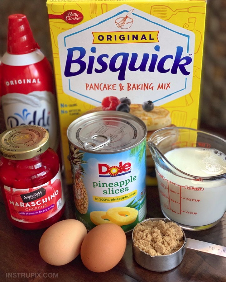 Quick and Easy Pineapple Upside Down Pancakes Recipe made with Bisquick