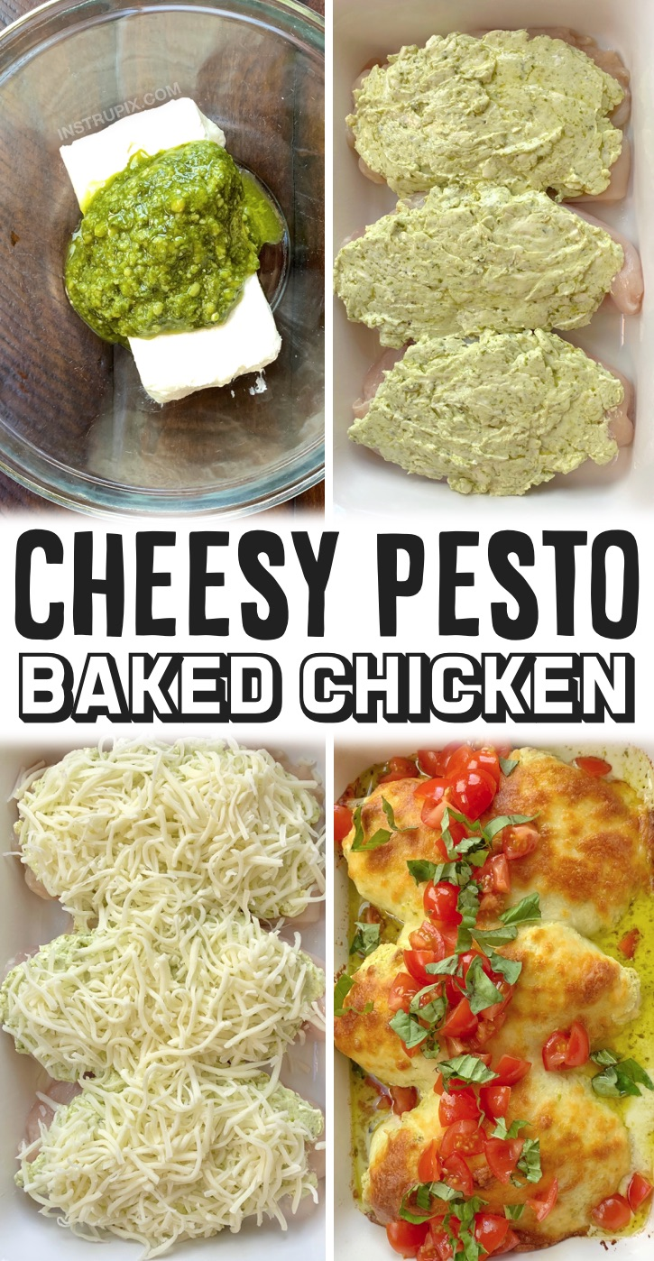 Looking for easy chicken breast recipes for dinner? This cheesy pesto oven baked chicken is AMAZING! My entire family loves this simple weeknight meal. It's all made in just one pan and is so creamy and delicious. You can serve it alone or with pasta, rice, veggies, salad, garlic bread or anything else you'd like. It's healthy and low carb eaten alone! It's great for a family with picky kids and can be customized to your liking. It's also pretty cheap and budget friendly for such a tasty meal.
