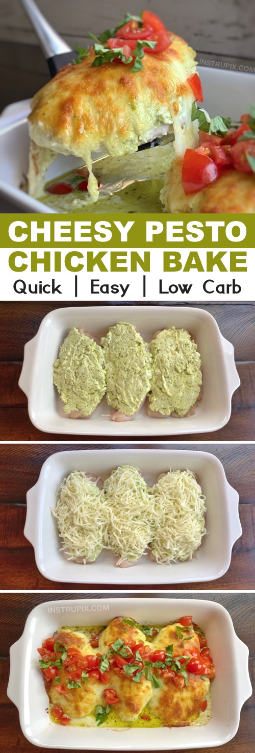Cheesy Pesto Chicken Recipe (keto and low carb!) | An easy low carb dinner recipe made with chicken, cream cheese, pesto and mozzarella! Simple ingredients that the entire family will love. Keto and low carb-- just serve it with cauliflower rice! #instrupix #chicken #keto #lowcarb