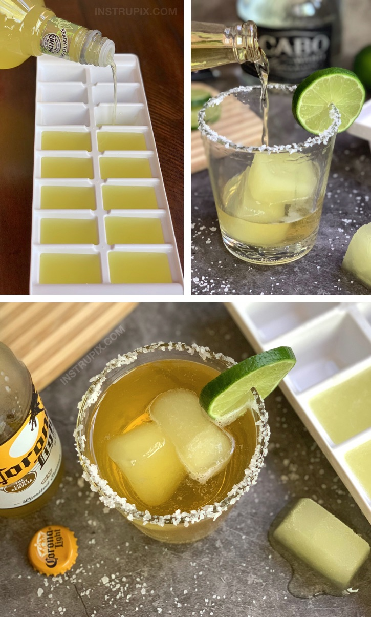 Margarita Cubes and Beer (plus 4 other cocktail cube ideas!) Like a CoronaRita but better! They chill and flavor your beer at the same time. Great for pool parties! #instrupix #drinkrecipes #margaritas #corona