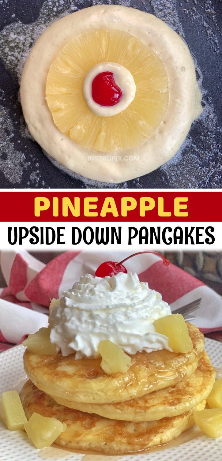 Pineapple Upside Down Pancakes - A super fun and creative breakfast idea for kids AND adults! If you're looking for quick and easy pancake recipes that are a little more exciting than the traditional, these pineapple upside down pancakes are absolutely amazing! My kids love this simple and creative pancake recipe made with Bisquick, pineapple rings and cherries. A unique and yummy breakfast recip, especially during special occasions like back to school, pajama parties, sleepovers and birthdays.