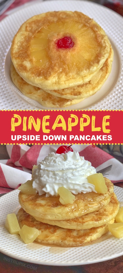 Looking for quick and easy breakfast ideas the entire family will love? Kids and adults will devour these Pineapple Upside Down Pancakes! They are super fun to make and made with simple ingredients. Perfect for sleepovers and special occasions (or any Sunday morning!) #breakfast #pancakes #instrupix #pineapple