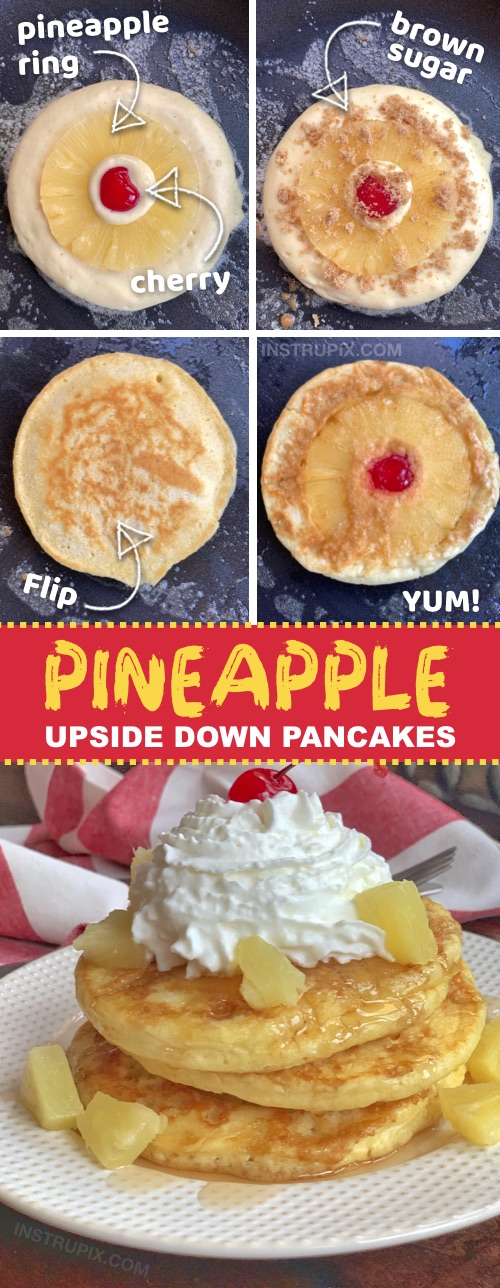 Looking for quick and easy breakfast ideas the entire family will love? Kids and adults will devour these Pineapple Upside Down Pancakes! They are super fun to make and made with simple ingredients (Bisquick, eggs, milk, pineapple, cherries, brown sugar). Perfect for sleepovers and special occasions (or any Sunday morning!) #breakfast #pancakes #instrupix #pineapple