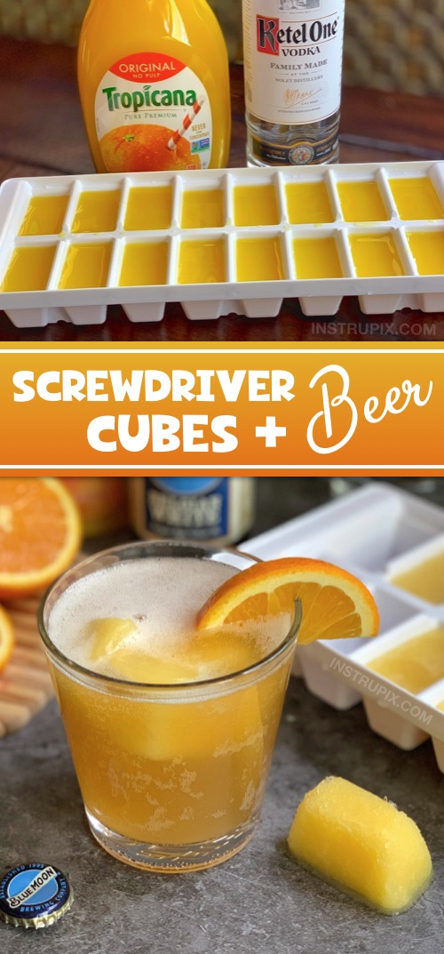 Screwdriver Cubes and Beer | Looking for easy alcoholic drink recipes for this summer? Or any time! Freeze fruity cocktails and juices in an ice cube tray and use them to chill and flavor beer! It's a fun and easy twist to drinking that everyone will love. Great for parties! Vodka and tequila are great mixers. #instrupix #beer #cocktails #cocktailcubes #drinkcubes