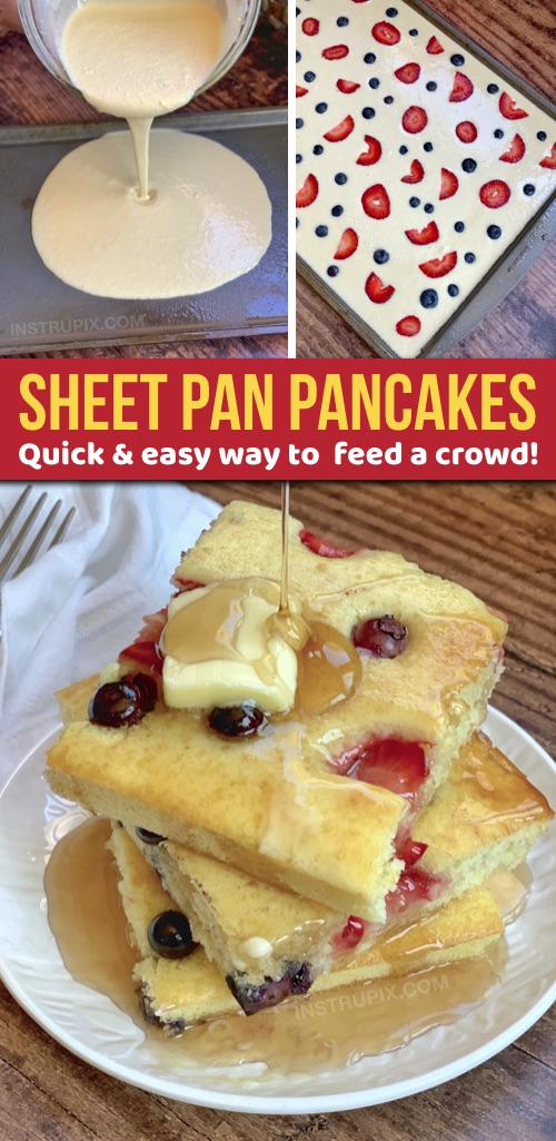 Looking for quick and easy breakfast ideas for a crowd? These sheet pan pancakes are simple, hassle free and always a hit! Kids and adults love them. I make them with Bisquick but you can use any recipe you would like. Great for large families! #instrupix #breakfast #pancakes #foodhack
