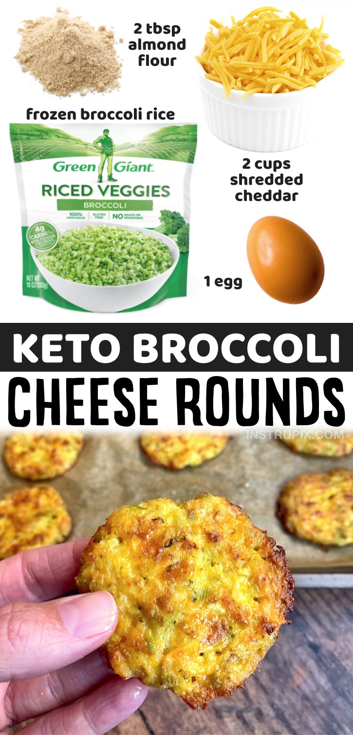 These cheesy baked broccoli tots are like broccoli cheddar soup on steroids. You basically take all of that deliciousness but add a little crunch to it by smashing these patties into flat little discs. The key to making crispy low carb and keto-friendly broccoli cheddar rounds is…. LOTS of cheese and extra baking time. That, and making sure you drain the excess liquid from the broccoli rice. You can also use cauliflower rice for this recipe! Even my kids love this simple low carb snack.