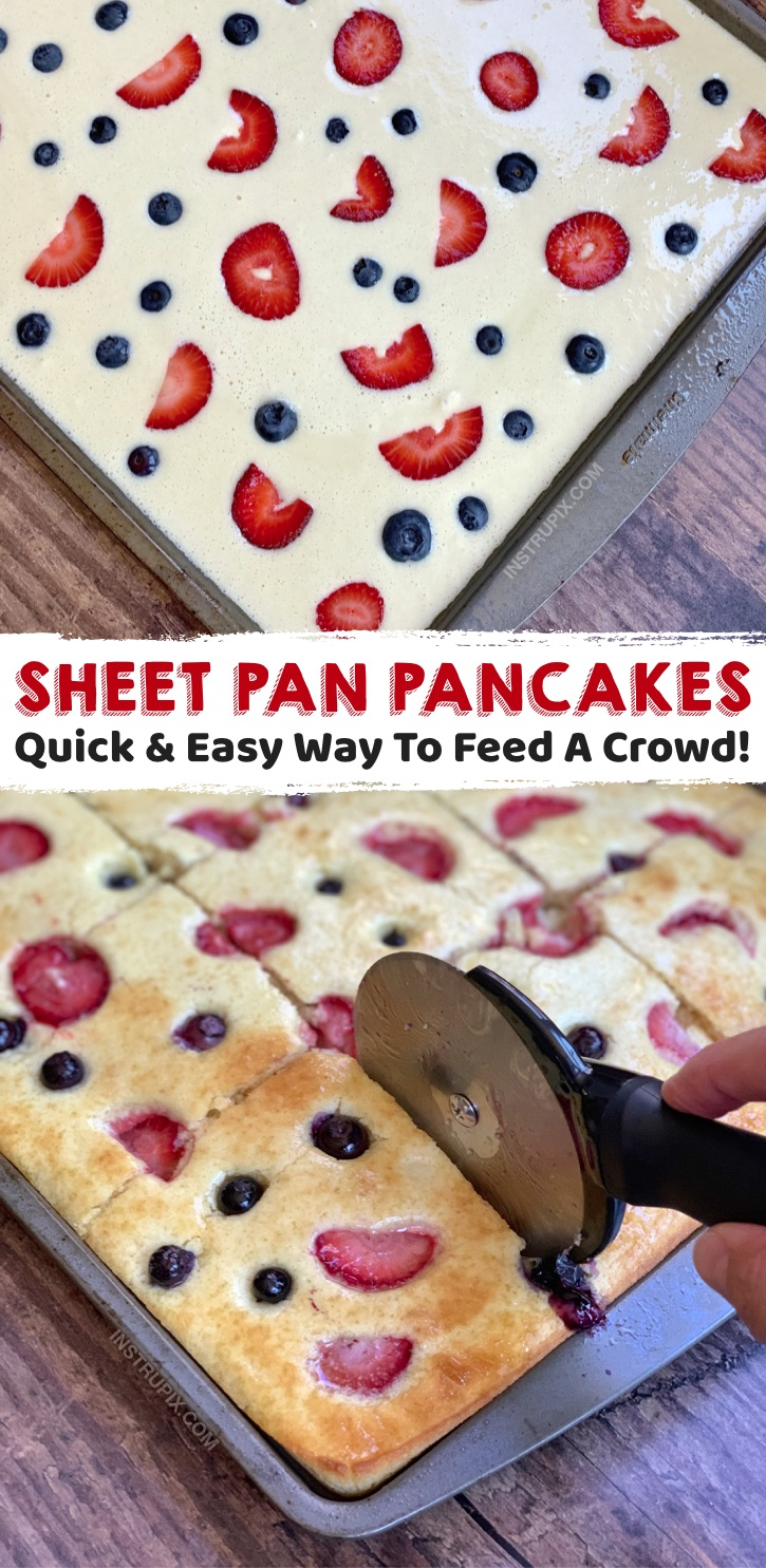 Looking for quick and easy breakfast ideas to feed a crowd? These sheet pan pancakes are so simple and cheap to make with Bisquick! Great for kids sleepovers, parties, brunches, potlucks and large families. You can make ahead the batter, and then just pour it into the sheet pan when everyone is ready to eat. Top with anything you'd like! This fun and creative way to make pancakes is perfect for any large morning get-together. No more standing over the stove cooking one pancake at a time!