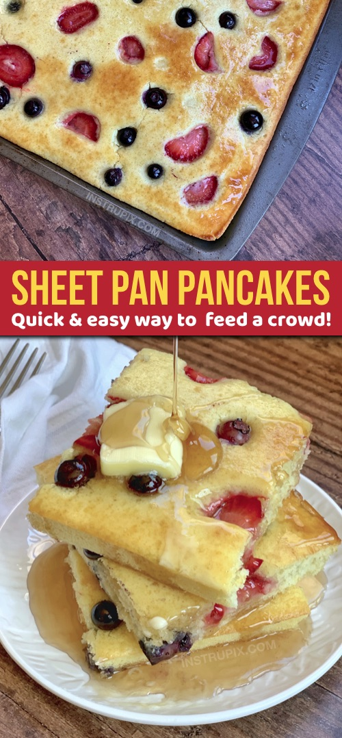Looking for easy breakfast ideas for a crowd? These quick sheet pan pancakes are simple, hassle free and always a hit! Kids and adults love them. I make them with Bisquick but you can use any recipe you would like. Great for large families! #instrupix #breakfast #pancakes #foodhack