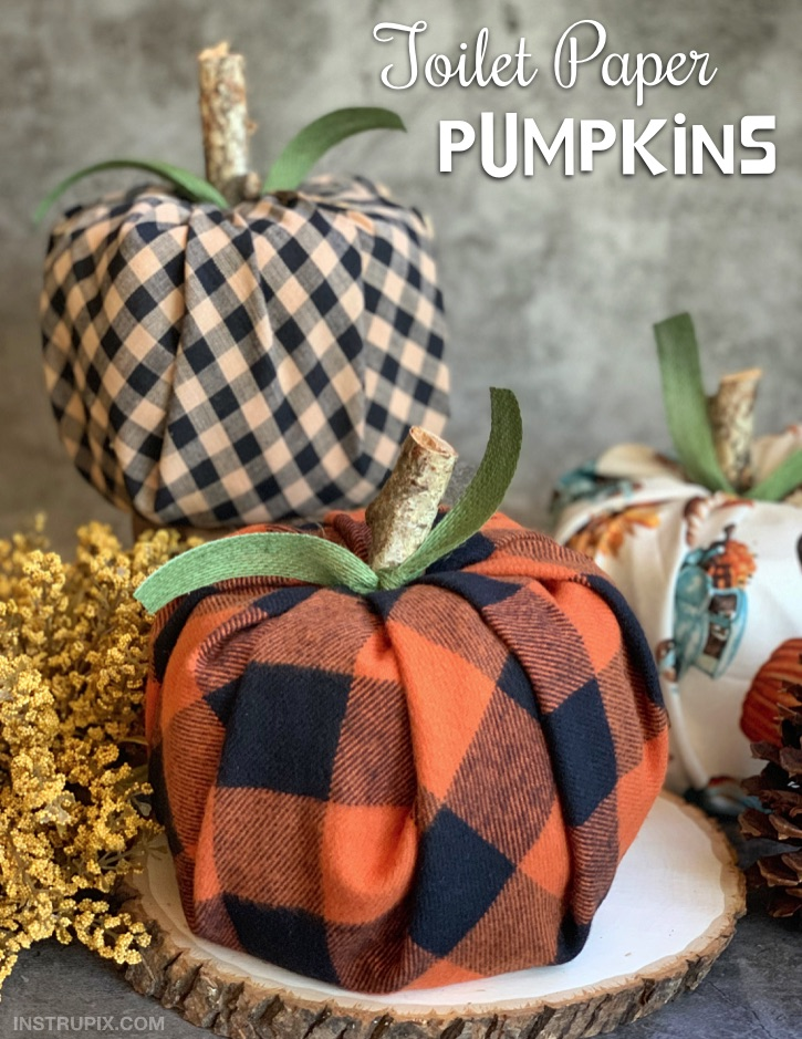 DIY Fall Home Decor Idea: Quick, easy and cheap pumpkins made with toilet paper and fabric!