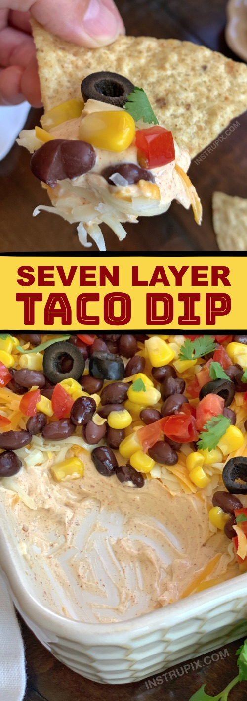 Looking for quick and easy appetizer ideas to bring to a party? This cold 7 layer taco dip is a real crowd pleaser! It's made with simple ingredients: cream cheese, sour cream, taco seasoning, shredded cheese and the taco ingredients of your choice to layer on top (beans, corn, olives, jalapeños, etc.). Serve it with tortilla chips, and your'e done. This is great for potlucks, too!