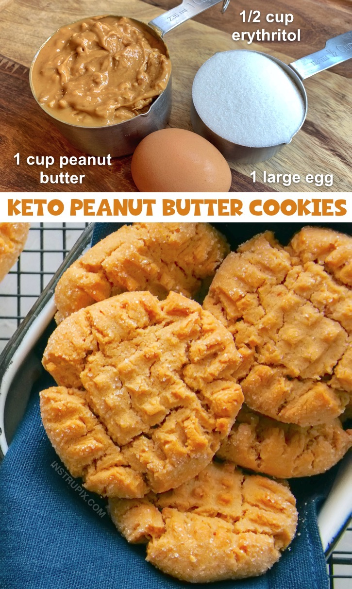Easy Keto Dessert Recipe: 3 Ingredient Low Carb Peanut Butter Cookies -- quick and easy to make! This recipe is so simple you probably already have the ingredients on hand. This fast recipe is a savior when following a ketogenic diet. #keto #lowcarb #peanutbutter #instrupix