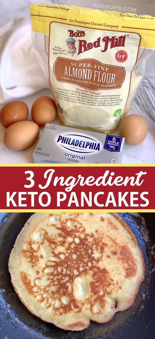 3 Ingredient Keto Pancakes made with simple ingredients: almond flour, cream cheese and eggs! The BEST quick and easy low carb breakfast idea. Freezable and great leftover, too! No eggy taste. Delish. #keto #lowcarb