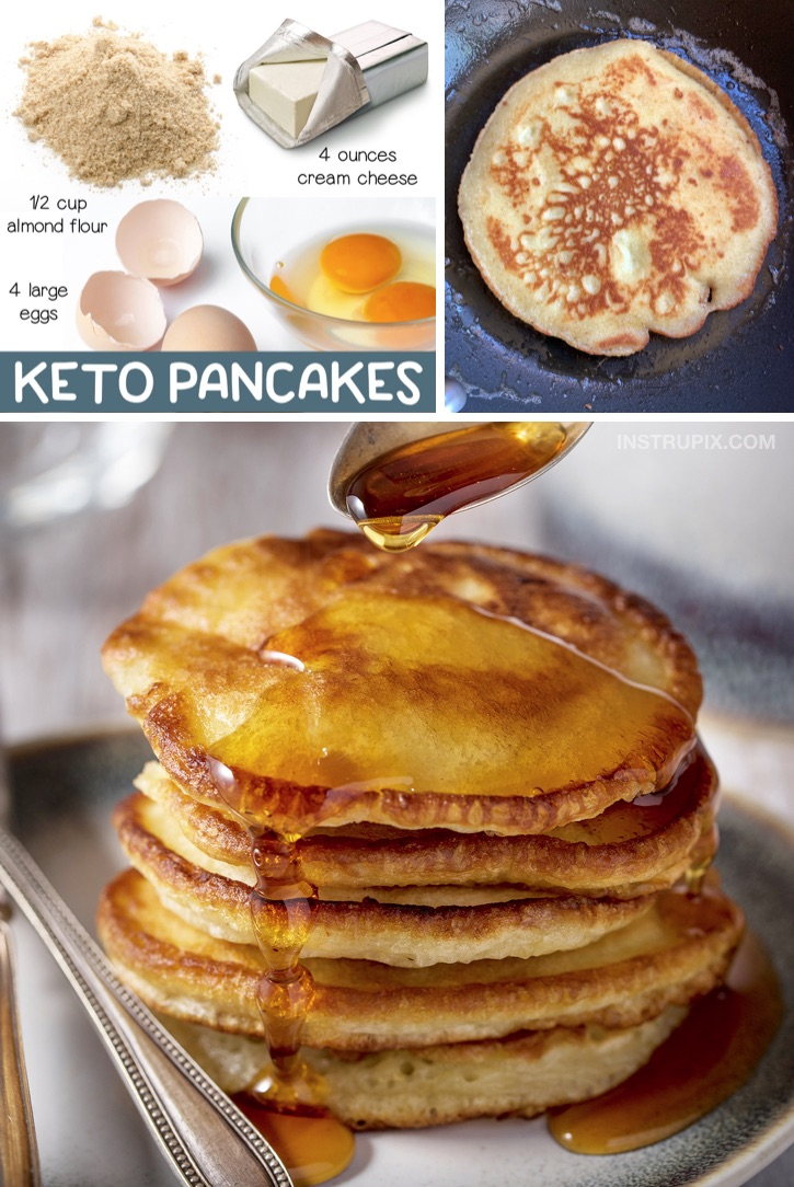 Easy Low Carb Breakfast Recipe: 3 Ingredient Keto Pancakes made with simple ingredients! Almond flour, cream cheese and eggs. This fast and easy low carb breakfast idea is a nice little treat when you're on a ketogenic diet! #lowcarb #keto #instrupix #ketobreakfast