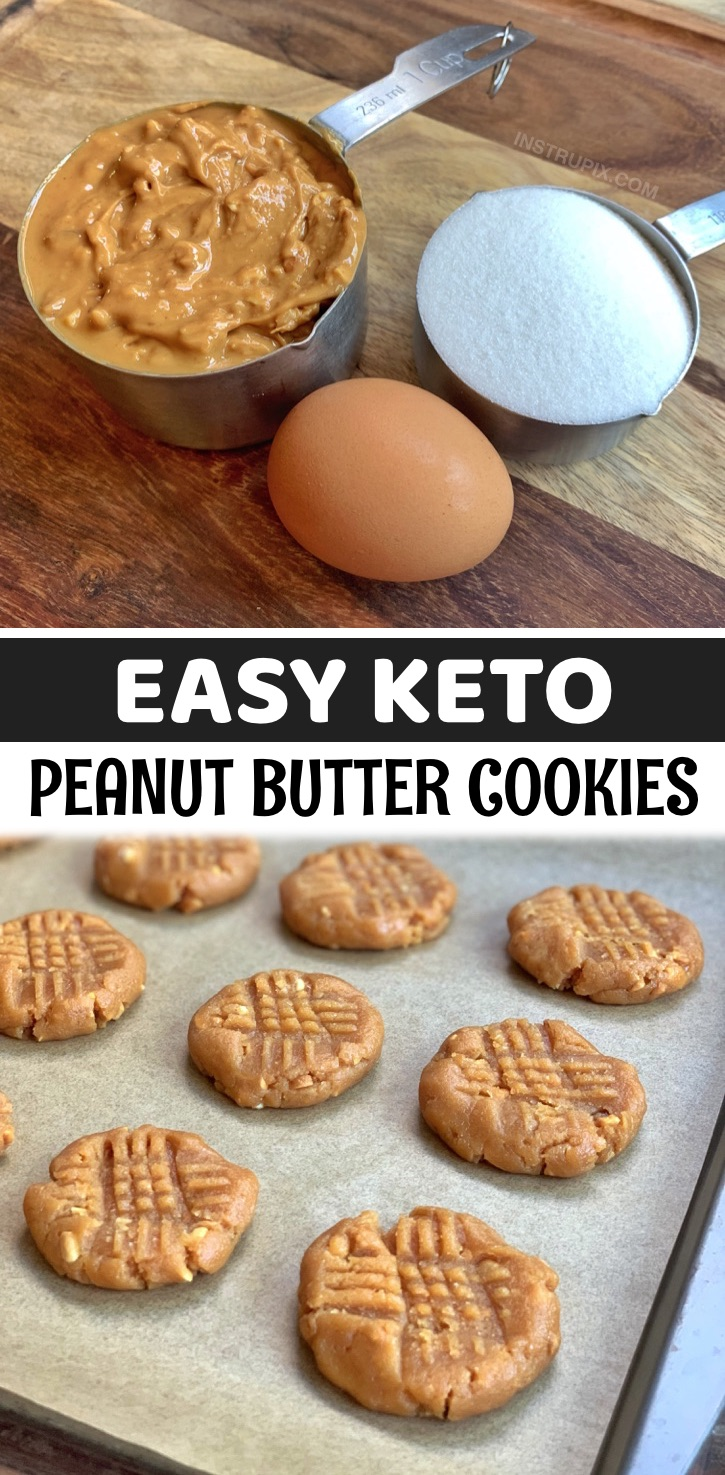 These easy keto peanut butter cookies are made with just 3 ingredients: peanut butter, an egg and the low carb sweetener of your choice like Swerve or Monk Fruit. So simple and delicious! If you're looking for easy low carb or keto dessert recipes, these baked cookies are a breeze to throw together with pantry staples. They will satisfy your sweet tooth without any of the guilt. Simply mix everything together, roll the batter into balls and place them on a baking sheet. Bake, and dig in!