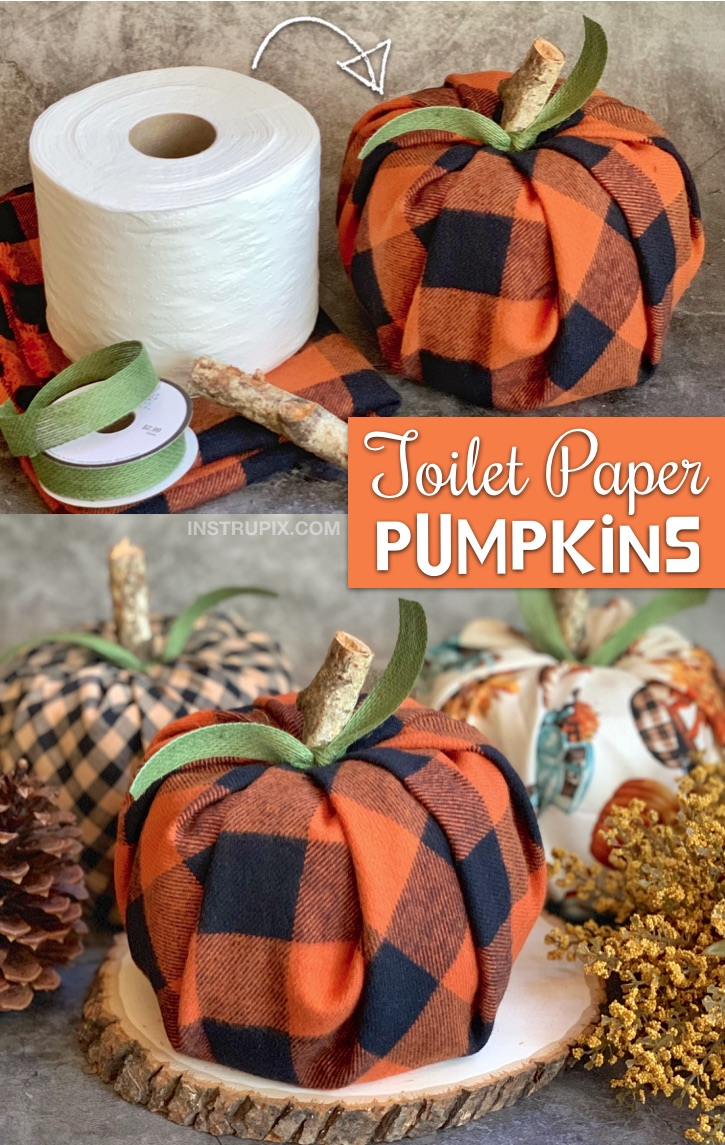 DIY Fall decor idea for the home (great for gifts, too.) -- Easy No-Sew toilet paper pumpkins! A cheap, quick and easy fall project made with fabric, toilet paper, ribbon and a piece of branch. #fall #instrupix