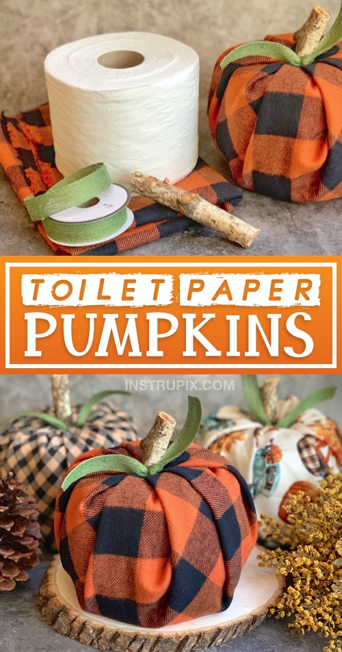 DIY Fall craft decoration for the home -- toilet paper pumpkin craft instructions! A cheap, quick and easy fall project made with fabric, toilet paper, ribbon and a piece of branch. #fall #instrupix