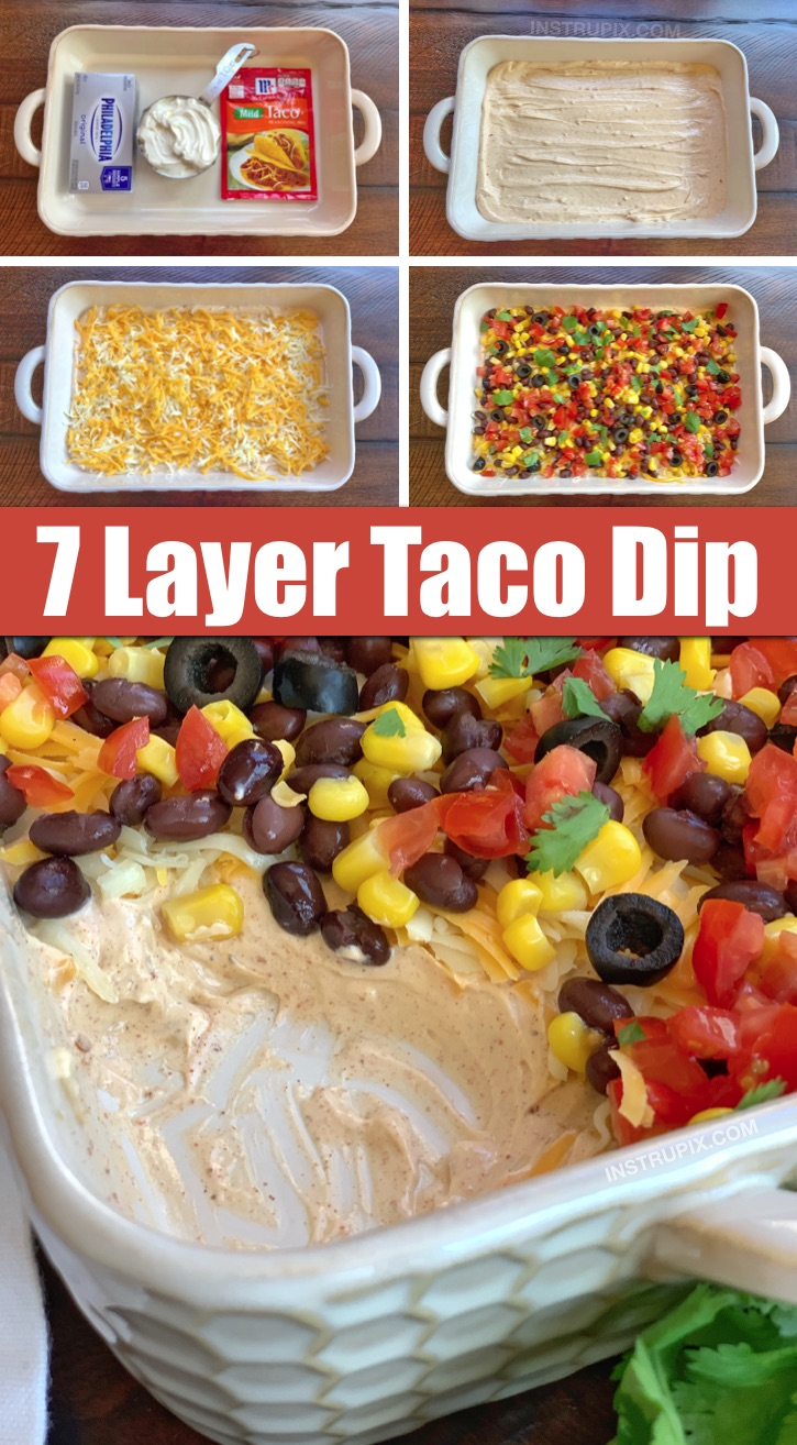 Easy Cold Make-Ahead Party Appetizer: 7 Layer Taco Dip -- The BEST quick and easy appetizer recipe to feed a crowd! It's made with simple ingredients: cream cheese, sour cream and taco seasoning for the base. Customize the toppings to your liking. Serve with tortilla chips. #partydip #7layerdip #instrupix