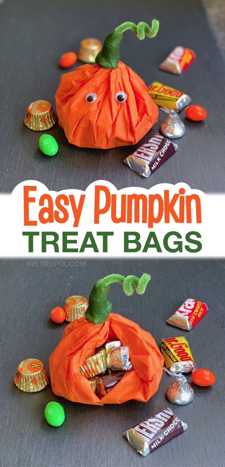 Looking for Halloween party ideas for school and home? These adorable pumpkin candy goody bags are super quick and easy to make with just a few cheap supplies: tissue paper and pipe cleaners! They are perfect for a kids school or home party. Stuff them with candy or other non-candy party favors. Super cute to pass out, and great for kids of all ages. These cute Halloween treat bags are super fun and creative for Halloween. DIY Halloween Party Ideas For Kids #halloween #instrupix