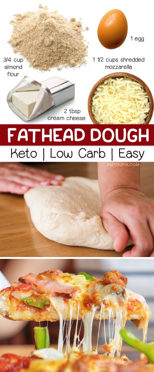 Easy Fathead Dough Recipe: Looking for easy keto recipes? This low carb pizza crust is made with just 4 simple ingredients! It's perfect for a quick and easy lunch, dinner or weeknight meal. This keto pizza dough is gluten free, keto friendly, and tastes like the real thing! Even beginners will love this recipe. It's made with just almond flour, mozzarella, cream cheese and an egg. #keto #lowcarb #pizza #instrupix