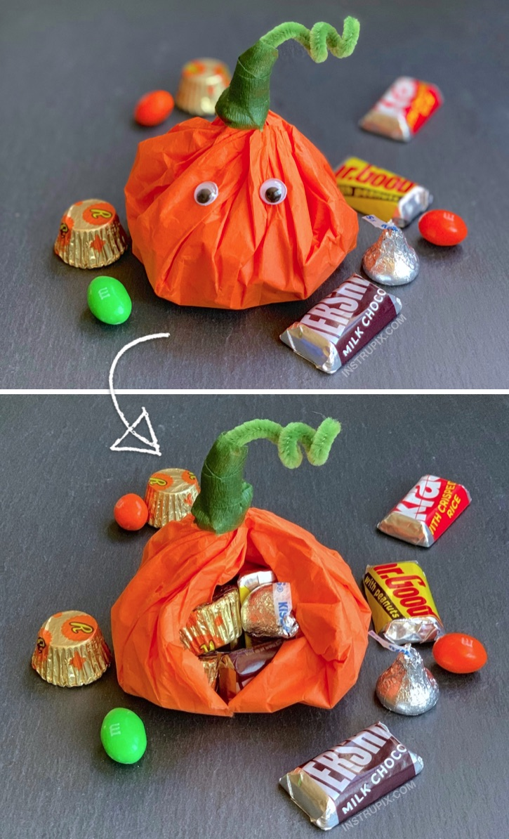 DIY Halloween Party Idea For Kids (cheap and easy!): The cutest little DIY party favor goody bags! Tissue Paper Pumpkins Stuffed With Candy. These would be perfect for Halloween school treats or any fall themed party (Thanksgiving, too). #partyfavors #halloween #fall #instrupix #party