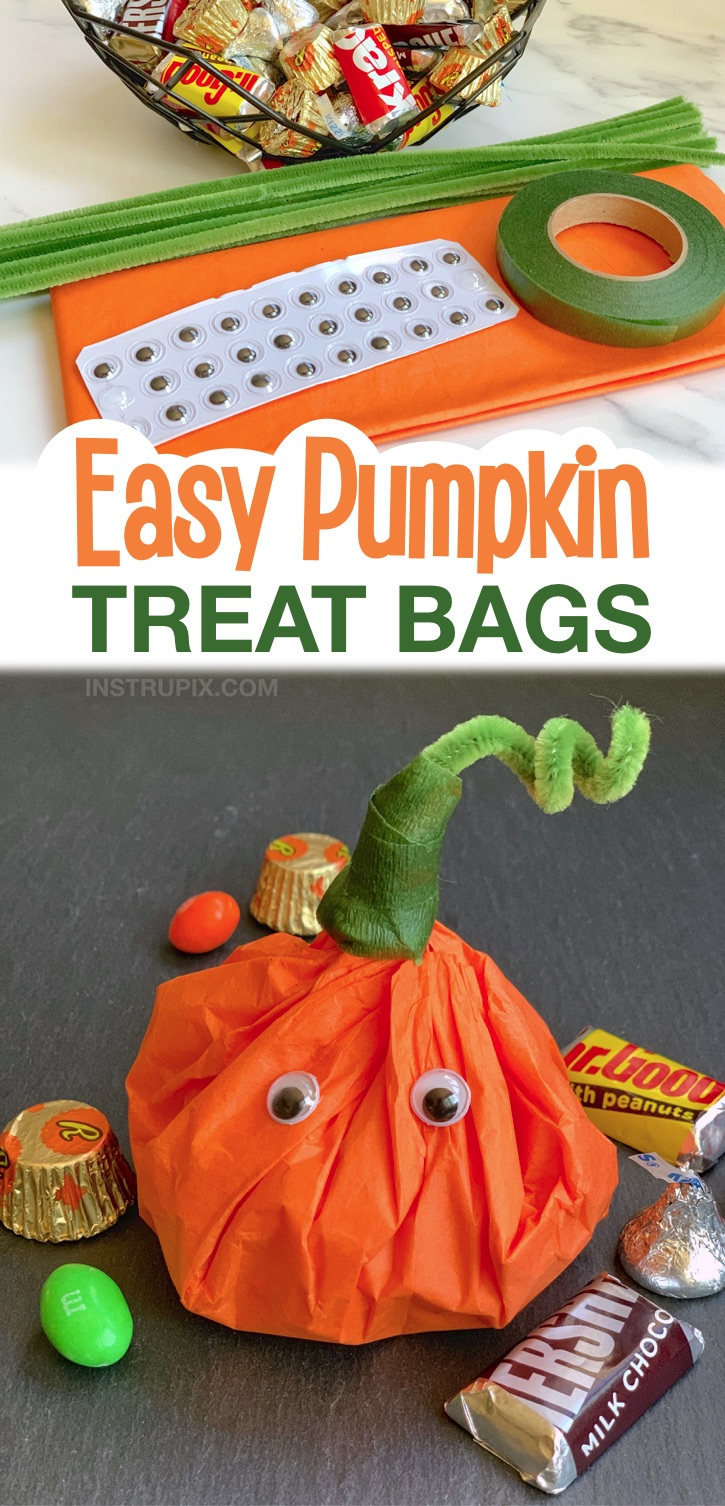 Looking for Halloween party ideas for kids? These homemade goody bags are so easy to make with just a few simple supplies including tissue paper, pipe cleaners and googly eyes. They are SO CUTE!! Stuff these Halloween themed treat bags with candy or even small toys. They are perfect to hand out for home or school parties. Kids, teens and adults love them! A super fun way to hand out candy for Halloween. The best little fall themed quick and easy DIY party favors.