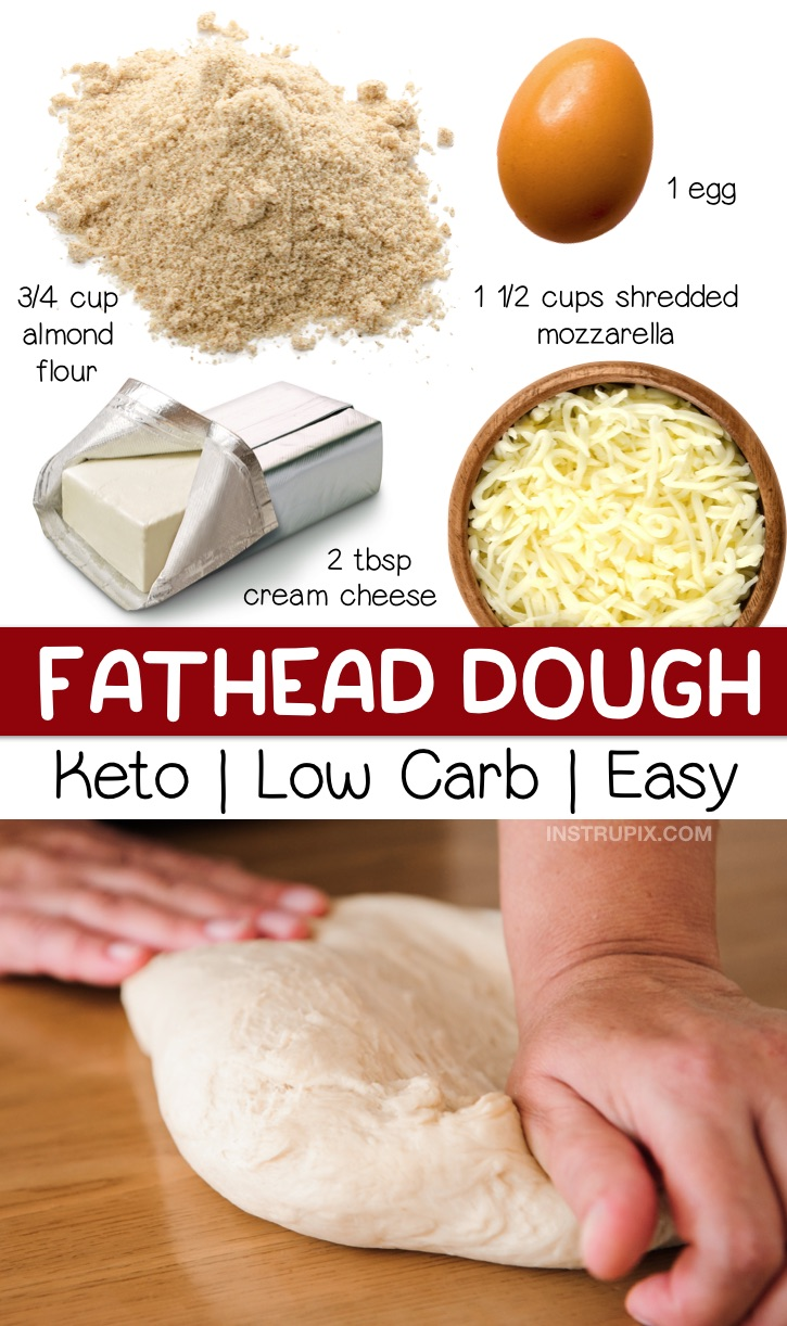 Quick & Easy Fathead Dough Recipe: Looking for easy keto recipes? This low carb pizza crust is made with just 4 simple ingredients! It's perfect for a quick and easy lunch, dinner or weeknight meal. This keto pizza dough is gluten free, keto friendly, and tastes like the real thing! Even beginners will love this recipe. It's made with just almond flour, mozzarella, cream cheese and an egg. #keto #lowcarb #pizza #instrupix