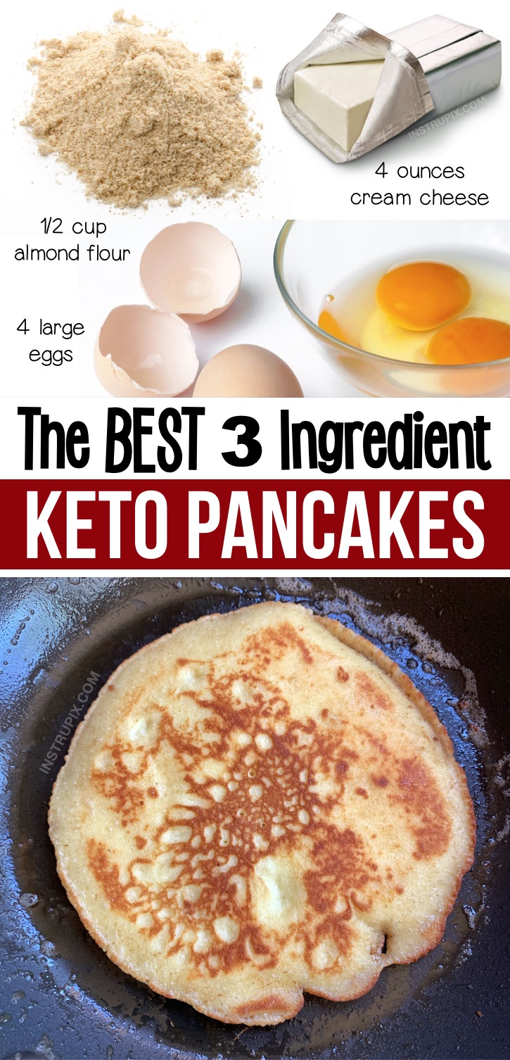 Looking for quick and easy keto breakfast ideas other than just eggs? Check out these 3 ingredient Keto pancakes made with just eggs, almond flour and cream cheese (you can also substitute coconut flour). They are low carb and delish! My favorite keto breakfast recipe for beginners. Serve with butter and sugar free syrup to make them for your ketogenic diet. You've go to add these low carb pancakes to your weekly meal plan. The family will love them, too! #keto #lowcarb #ketopancakes #instrupix