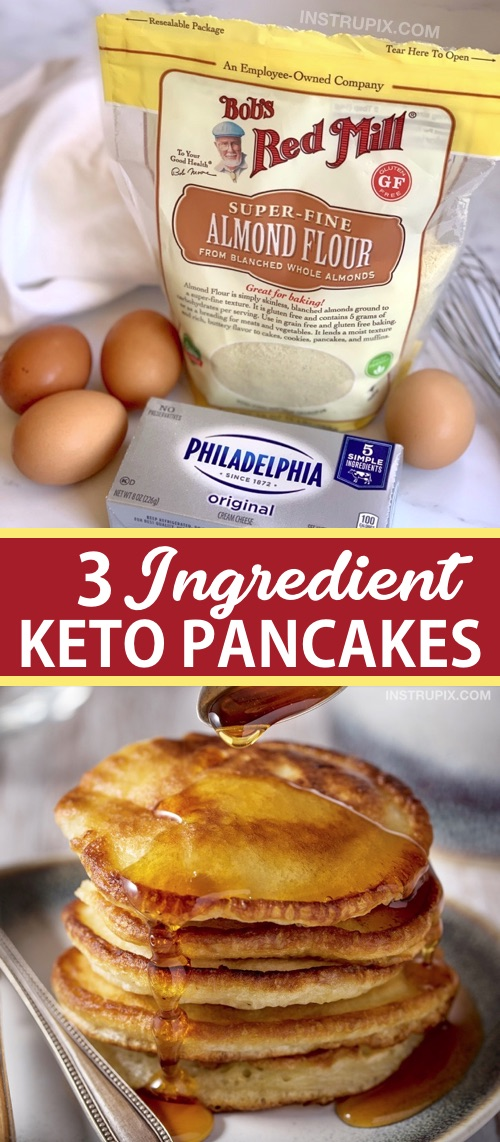 Looking for easy keto breakfast recipes besides just eggs!? These quick and easy keto cream cheese pancakes are made with 3 simple ingredients: almond flour, cream cheese and eggs. They taste just like the real deal with a little sugar-free syrup! If you are on the ketogenic diet, this low carb breakfast idea is a life saver. You can even make a large batch ahead and eat them leftover all week long. I love almond flour!!