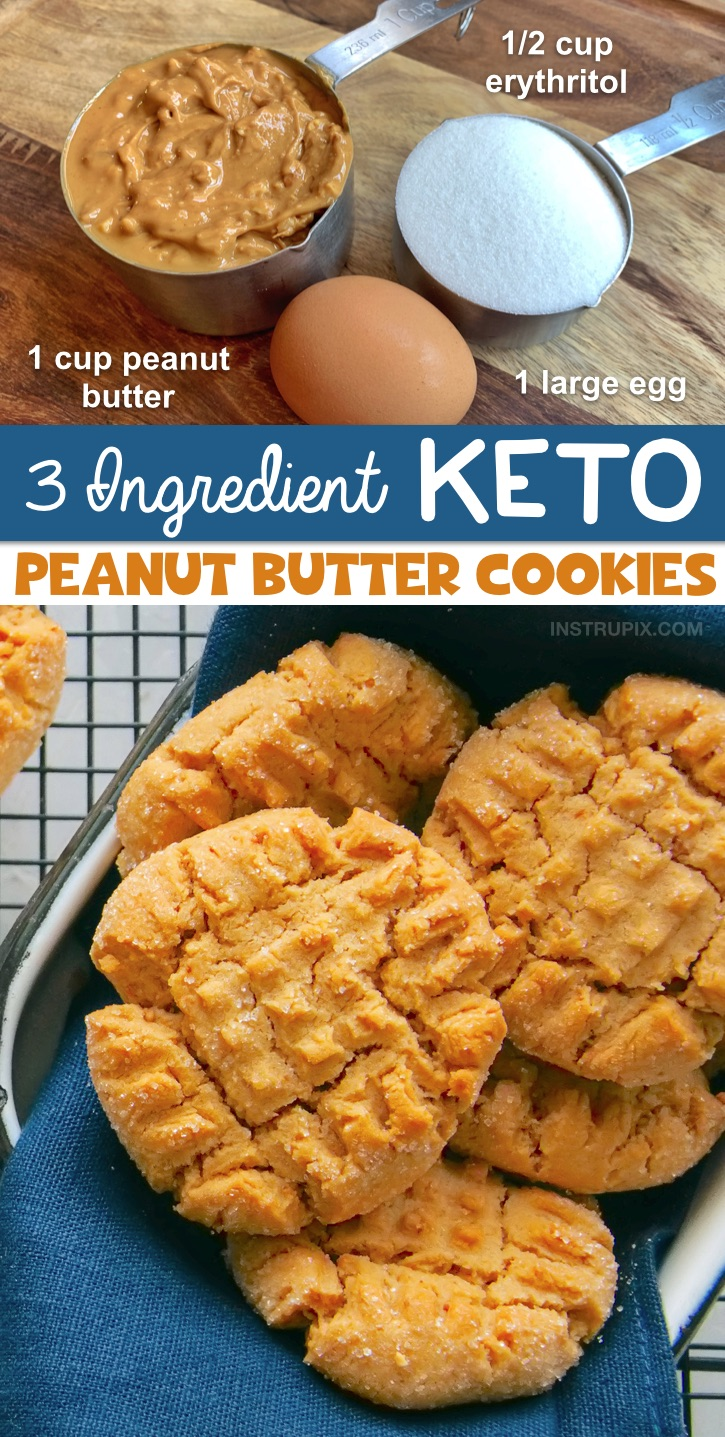 3 Ingredient Low Carb Peanut Butter Cookies (an easy keto dessert recipe!) -- This recipe is so simple you probably already have the ingredients on hand. This fast recipe is a savior when following a ketogenic diet. #keto #lowcarb #peanutbutter #instrupix