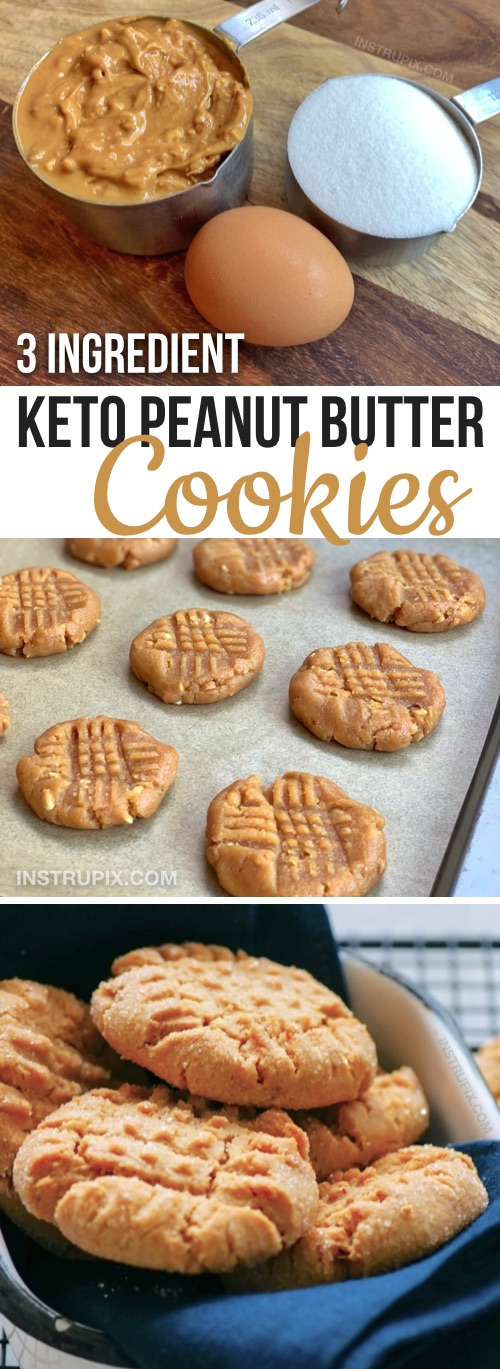 Easy Keto Dessert Recipes for a ketogenic diet: 3 Ingredient Peanut Butter Cookies -- quick and easy to make with simple ingredients! Just peanut butter, an egg and low carb sweetener of your choice like swerve. These low carb cookies have no flour and no guilt.