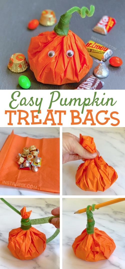 Halloween Party Idea For Kids: The cutest little DIY party favor goody bags for school! Tissue Paper Pumpkins Stuffed With Candy. Super cheap and easy to make! These would be perfect for any fall themed party (Thanksgiving, too). #partyfavors #halloween #fall #instrupix #party