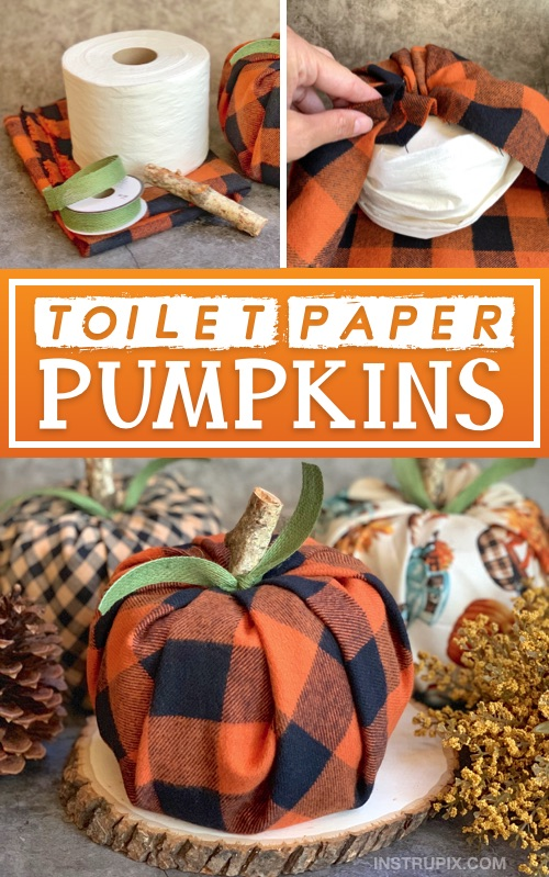 DIY Fall decor idea for the home -- toilet paper pumpkin craft instructions! A cheap, quick and easy fall project made with fabric, toilet paper, ribbon and a piece of branch. #fall #instrupix
