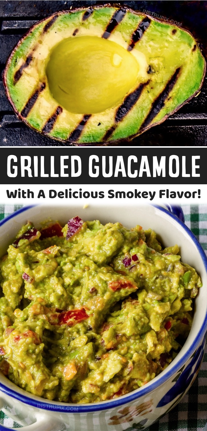 Looking for fiesta party dip recipes? This grilled guacamole is absolutely incredible! It's an excellent party appetizer or compliment to burritos, tacos and more. Now, don't go throwing your guacamole on the grill, just the ingredients that go inside of it. I'm talking about your avocados, onion, tomato, jalapeños and anything else you want to fire up in there. You can serve this as a dip with tortilla chips, serve it in tacos, spread it on toast, or it can easily compliment any low carb meal.