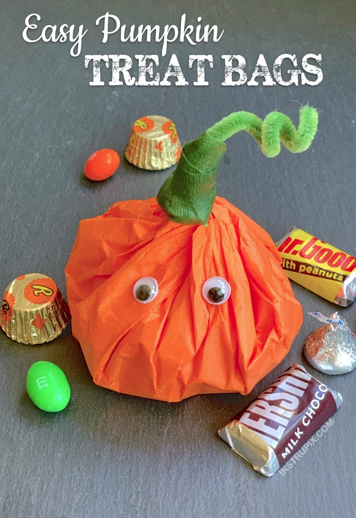 DIY Halloween Treat Bag Party Favors For Kids - Tissue Paper pumpkins stuffed with candy!