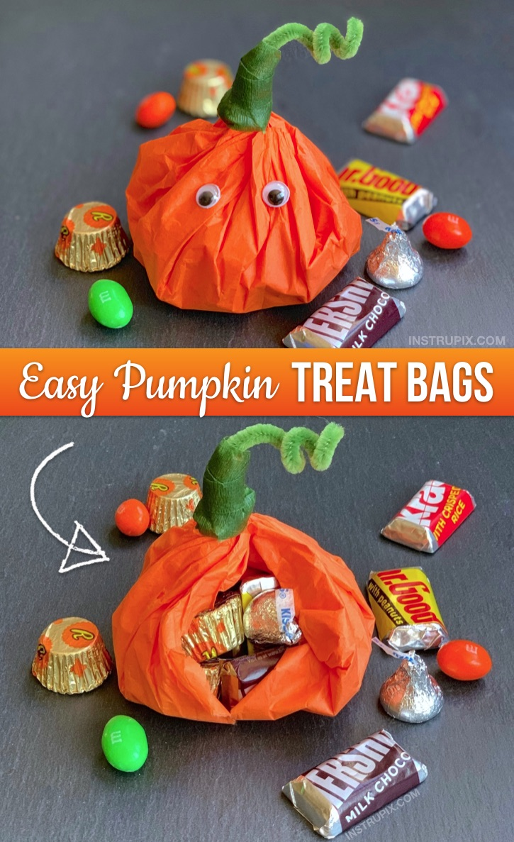 Halloween Party Idea For Kids: The cutest little DIY party favor goody bags! Tissue Paper Pumpkins Stuffed With Candy. Super cheap and easy to make! These would be perfect for Halloween school treats or any fall themed party (Thanksgiving, too). #partyfavors #halloween #fall #instrupix #party