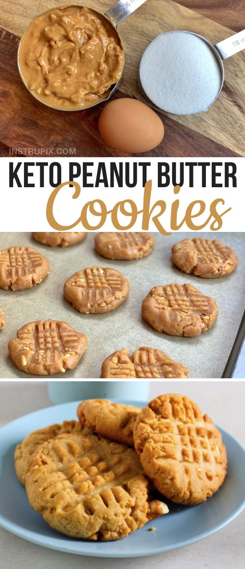 Looking for easy ketogenic dessert recipes with just 3 ingredients? These quick and easy keto peanut butter cookies are made with just peanut butter, swerve or stevia and and egg. So soft! Simple to make, too. The BEST low carb last minute dessert recipe . Perfect keto dessert recipe for beginners. Easy 3 Ingredient Keto Peanut Butter Cookies Recipe #instrupix #keto #lowcarb