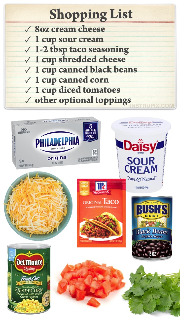Easy Cold 7 Layer Taco Dip Party Appetizer (Quick and easy make ahead dip for a crowd!) Serve with tortilla chips.