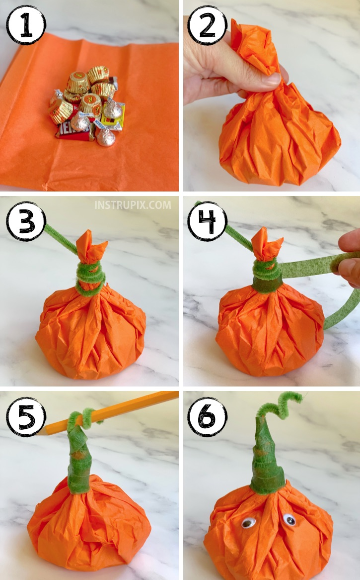 The cutest little DIY party favors for Halloween! Tissue Paper Pumpkins Stuffed With Candy. Super cheap and easy to make! These would be perfect for Halloween school treats or any fall themed party (Thanksgiving, too). #partyfavors #halloween #fall #instrupix #party